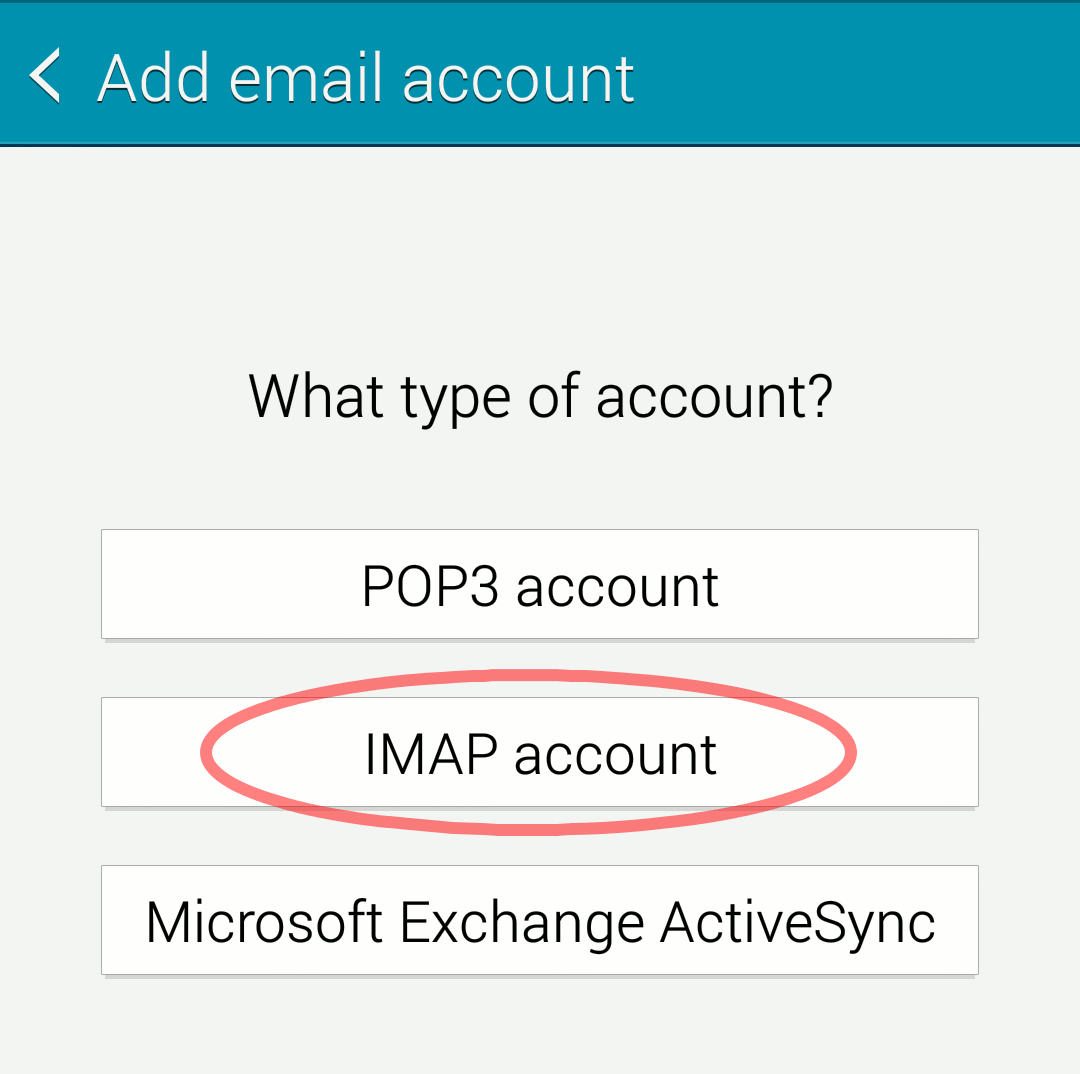 "Android ""Choose account type"" screen"