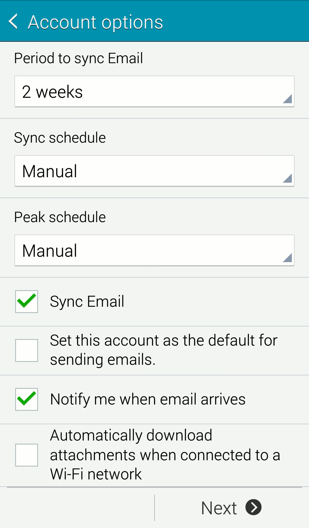 Android mail options screen
