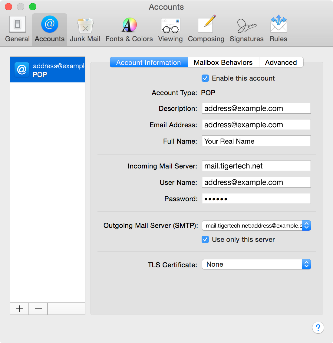 Apple Mail POP settings verification screen shot