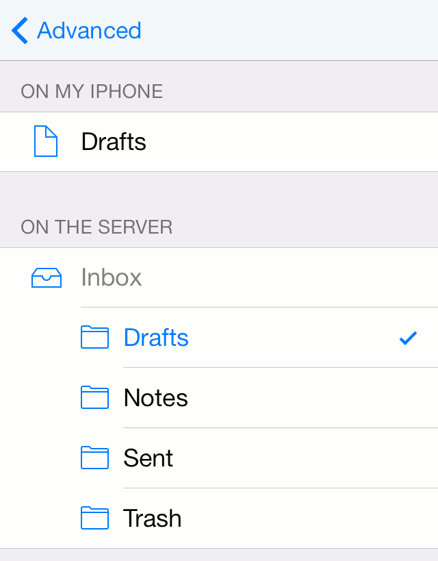 iPhone Mailboxes screenshot