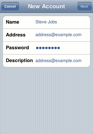 iPhone add account screen 3