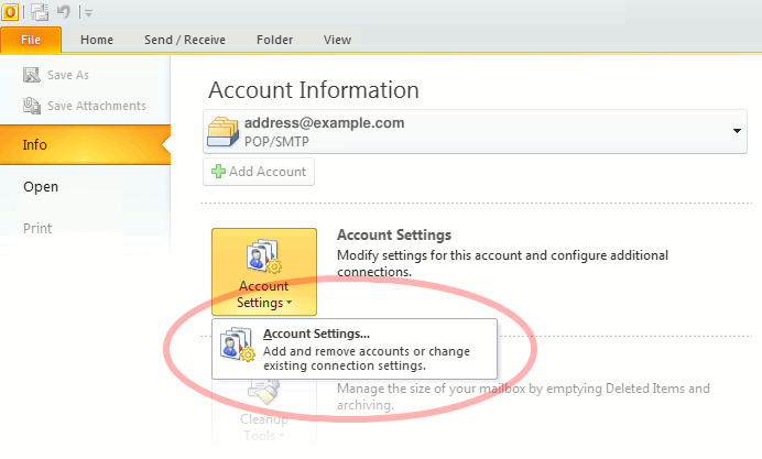 "Outlook 2010 ""Account Settings"""