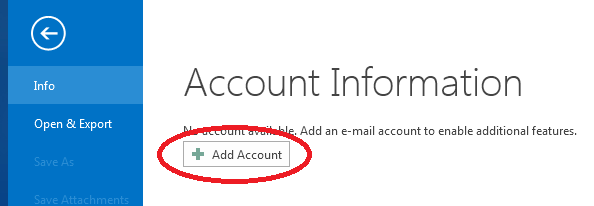 "Outlook 2013 ""Add Account"" button"