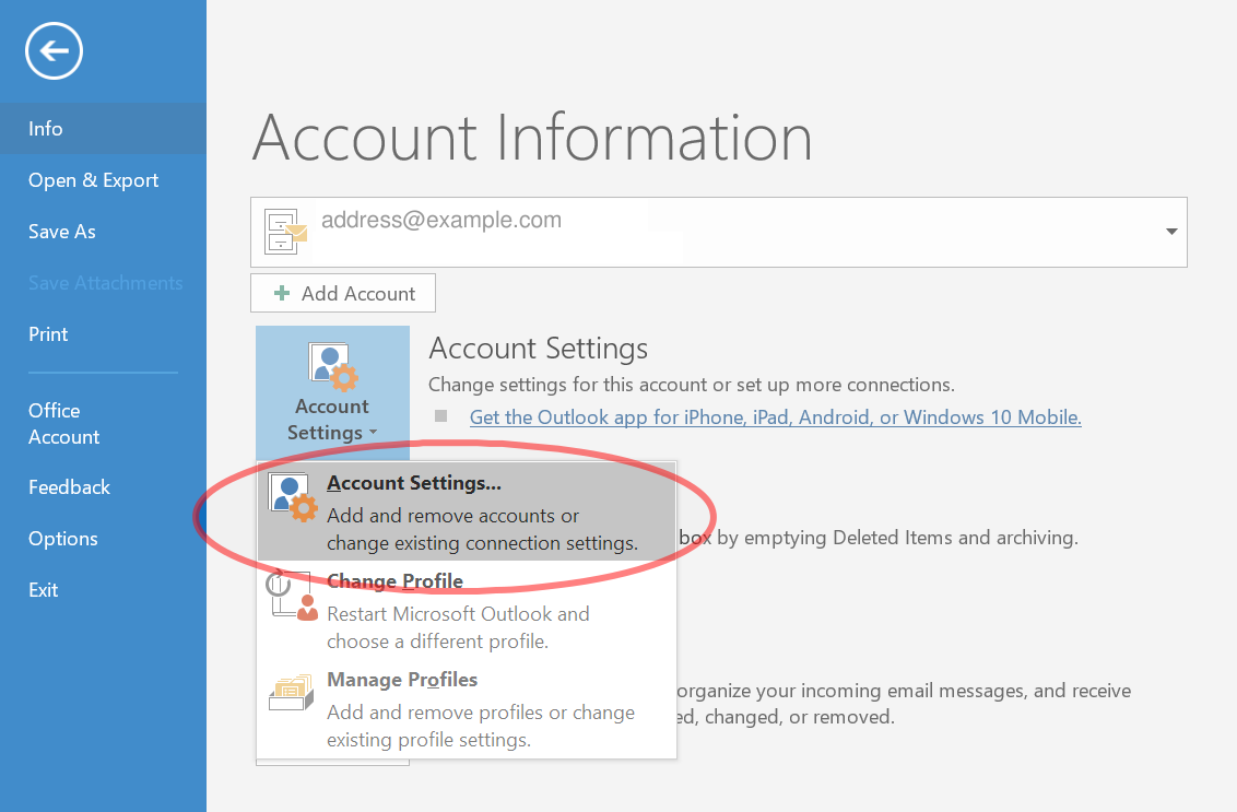 Outlook 2016 Account Information
