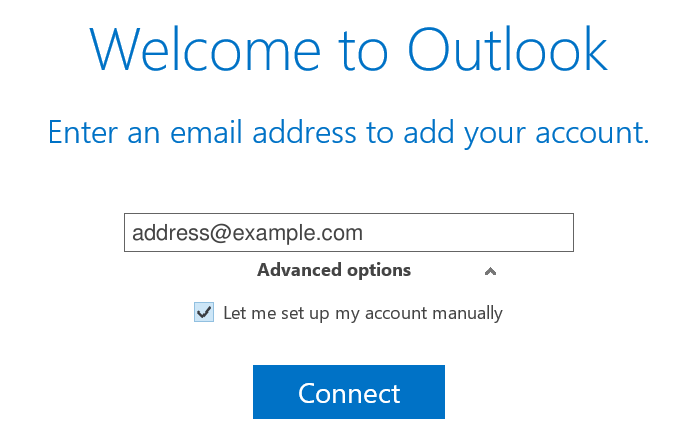 Outlook 2016 Welcome screen