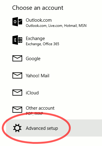 Windows 10 Mail Choose an account