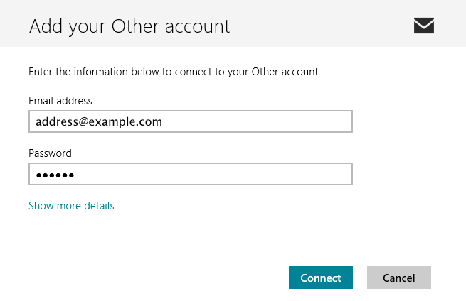 Windows 8 first Add Account screen