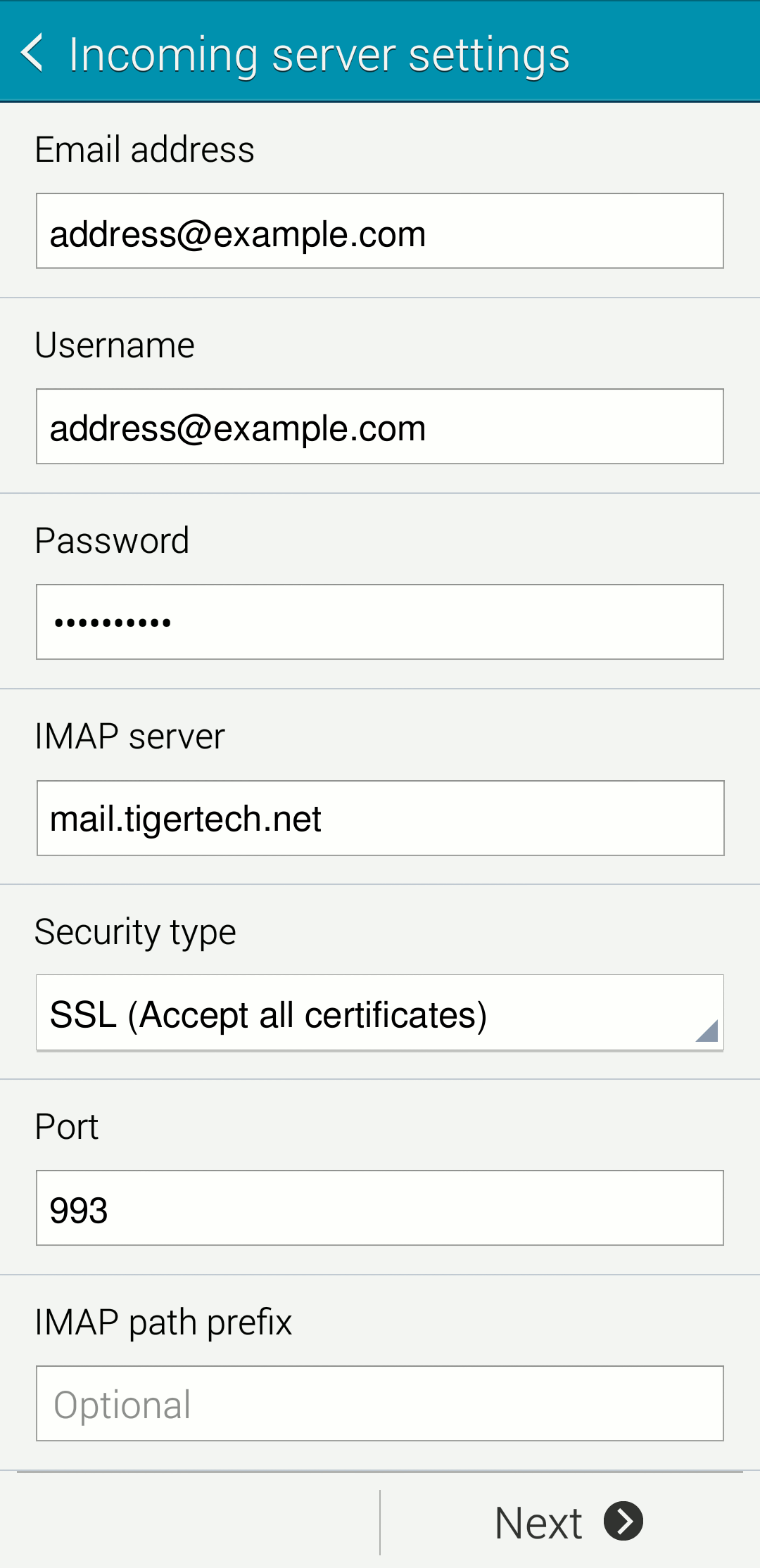 Verifying android settings tiger technologies support android incoming mail settings screen xflitez Image collections