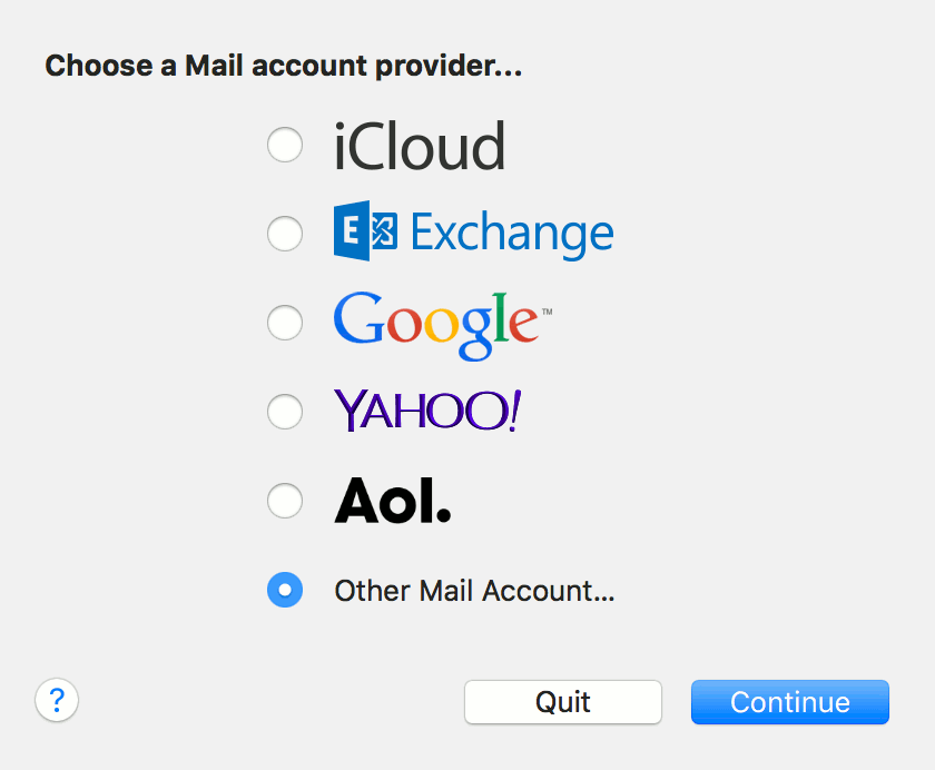 Choose a Mail account provider