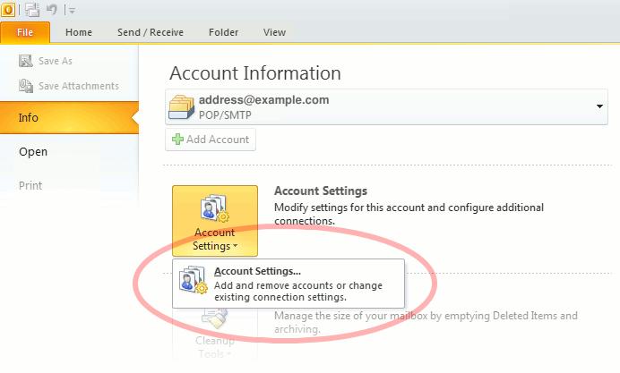 "Outlook 2010 ""Account Settings"""
