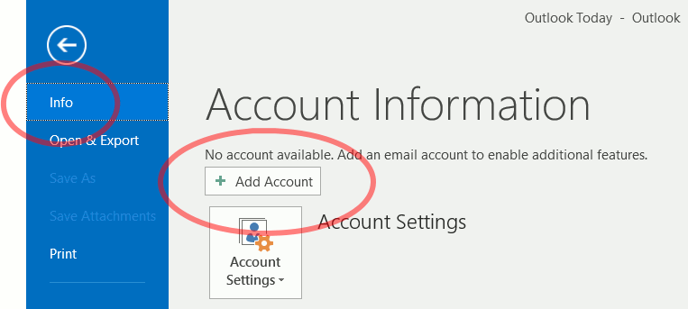 Outlook 2016 Add Account button