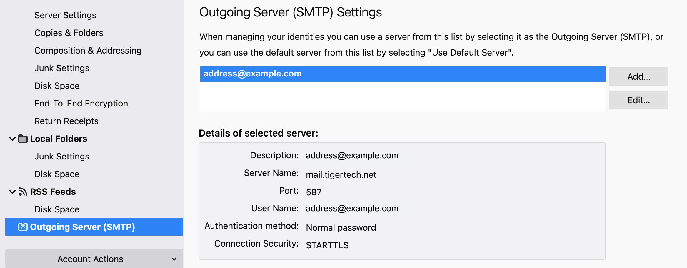 Verifying Mozilla Thunderbird Settings   Tiger Technologies