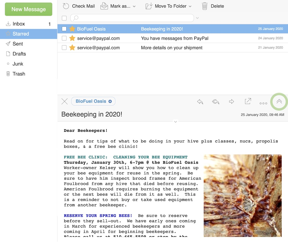 Webmail 2020 Two column view split